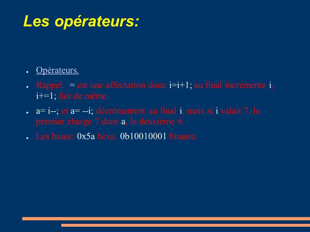 Les opérateurs: Opérateurs. Rappel: = est une affectation donc i=i+1; au final incrémente i, i+=1; fait de même. a= i--; et a= --i; décrémentent au fi
