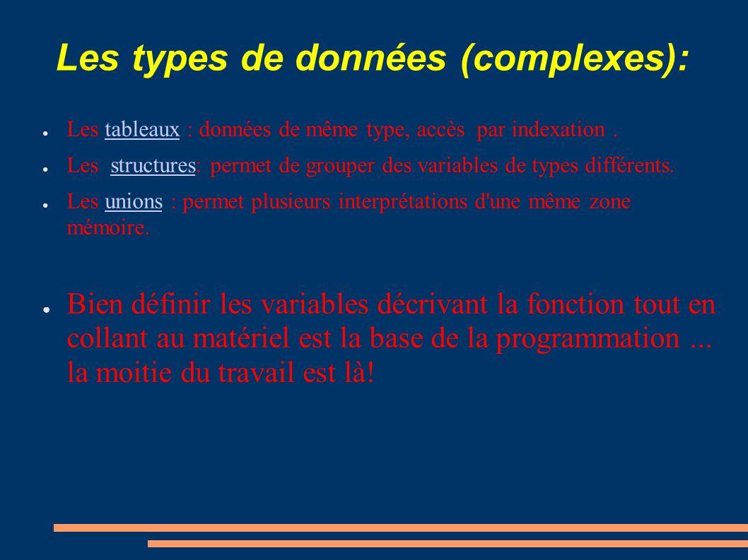 Les types de données (complexes): Les tableaux : données de même type, accès par indexation.tableaux Les structures: permet de grouper des variables d