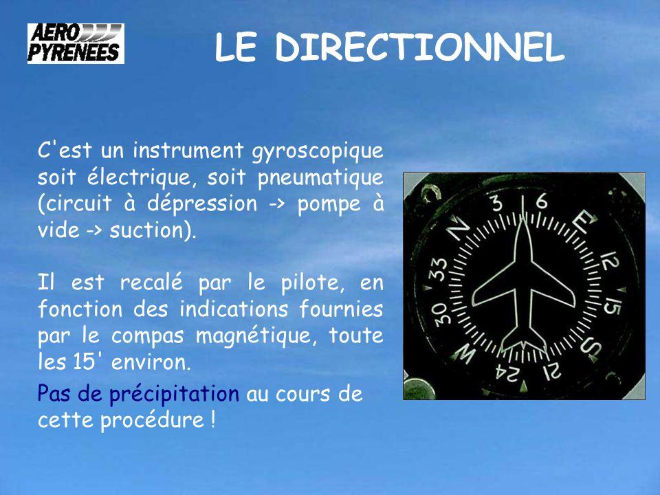 LE DIRECTIONNEL C'est un instrument gyroscopique soit électrique, soit pneumatique (circuit à dépression -> pompe à vide -> suction). Il est recalé pa