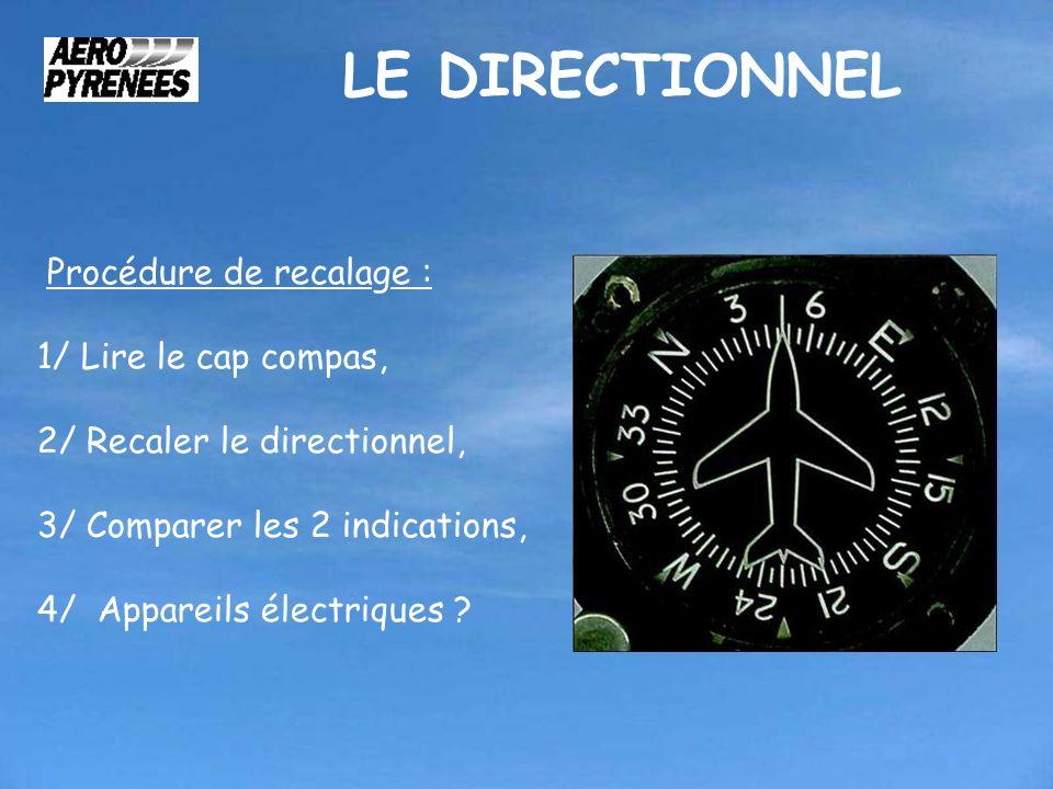 LE DIRECTIONNEL Procédure de recalage : 1/ Lire le cap compas, 2/ Recaler le directionnel, 3/ Comparer les 2 indications, 4/ Appareils électriques ?