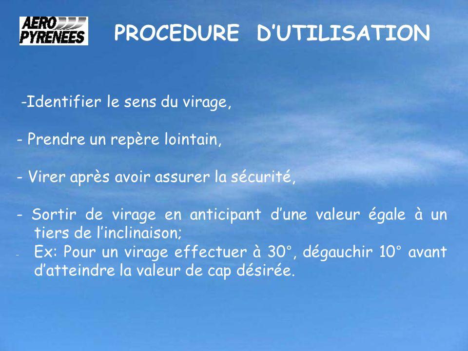 PROCEDURE DUTILISATION -Identifier le sens du virage, - Prendre un repère lointain, - Virer après avoir assurer la sécurité, - Sortir de virage en ant