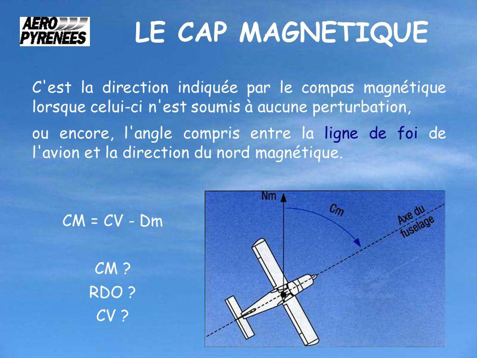 LE CAP MAGNETIQUE C'est la direction indiquée par le compas magnétique lorsque celui-ci n'est soumis à aucune perturbation, ou encore, l'angle compris