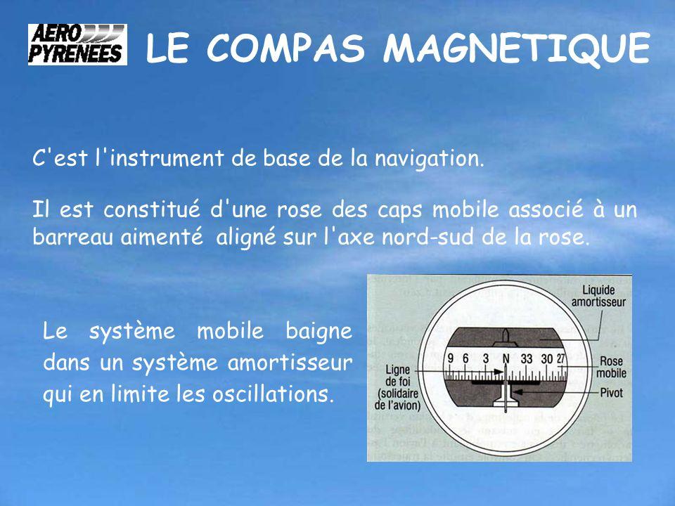 LE COMPAS MAGNETIQUE C'est l'instrument de base de la navigation. Il est constitué d'une rose des caps mobile associé à un barreau aimenté aligné sur