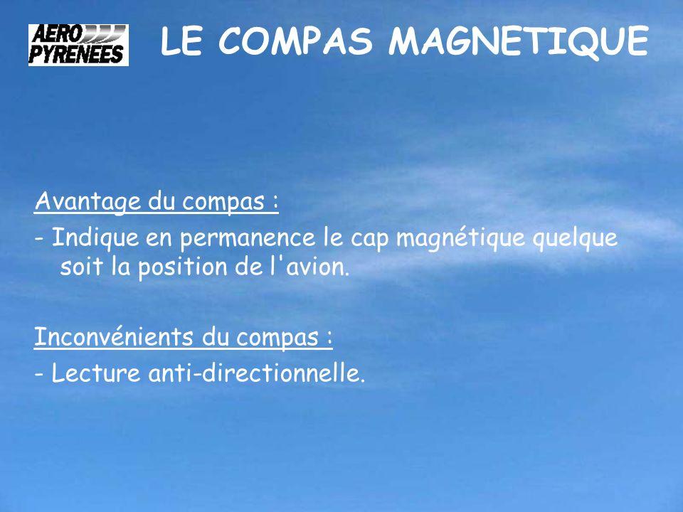 Avantage du compas : - Indique en permanence le cap magnétique quelque soit la position de l'avion. Inconvénients du compas : - Lecture anti-direction