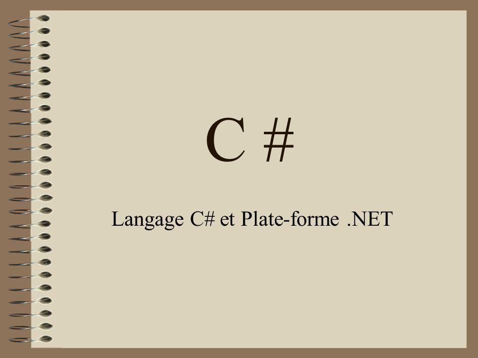 C # Langage C# et Plate-forme.NET