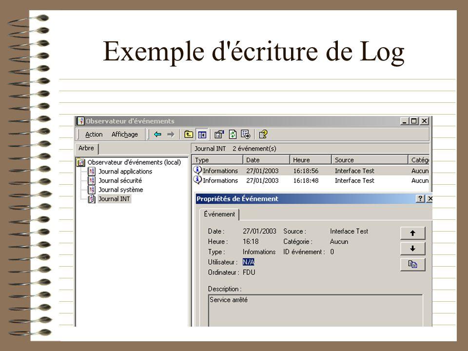 Exemple d'écriture de Log