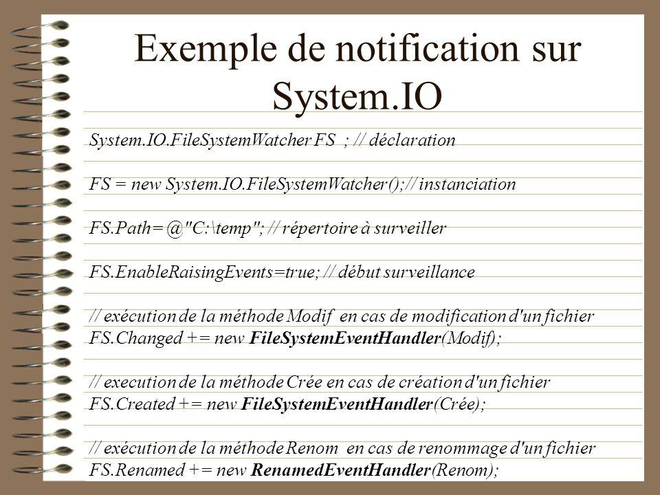 Exemple de notification sur System.IO System.IO.FileSystemWatcher FS ; // déclaration FS = new System.IO.FileSystemWatcher();// instanciation FS.Path=