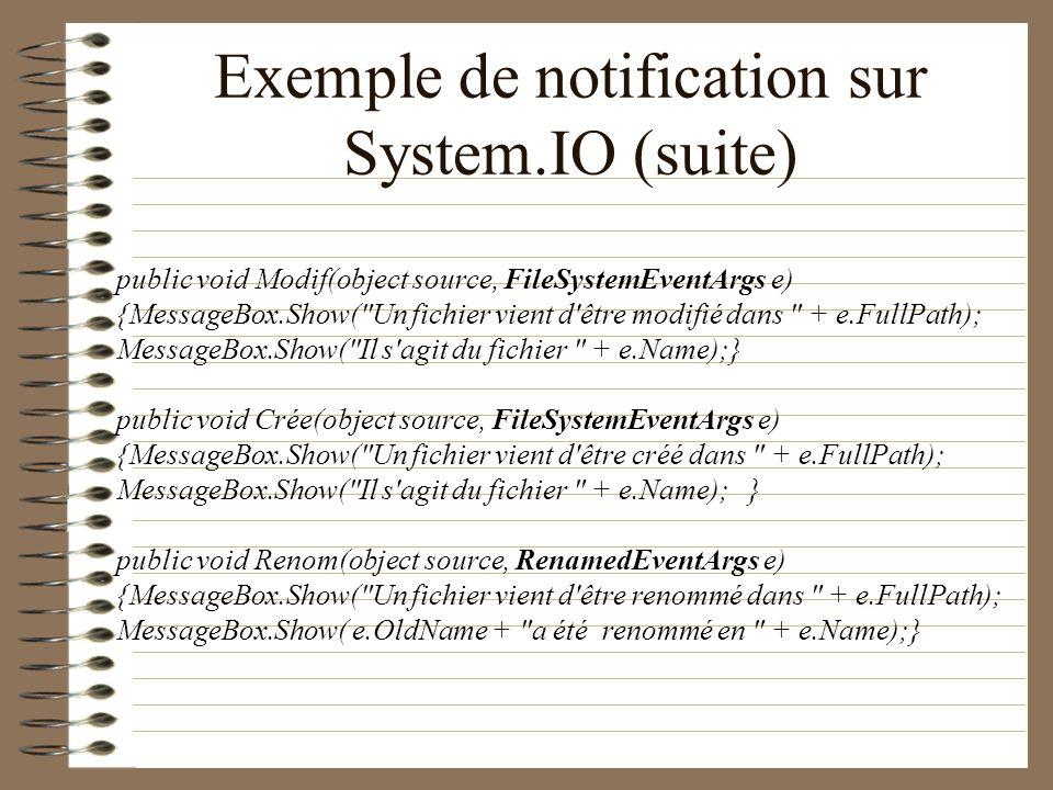 Exemple de notification sur System.IO (suite) public void Modif(object source, FileSystemEventArgs e) {MessageBox.Show(