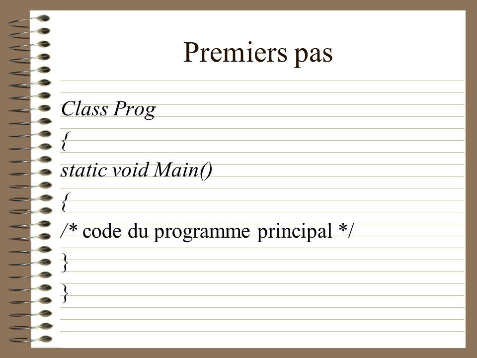 Premiers pas Class Prog { static void Main() { /* code du programme principal */ }