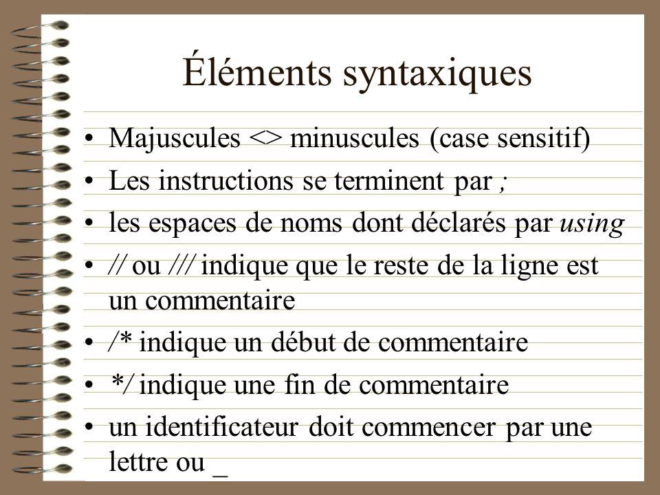 Éléments syntaxiques Majuscules <> minuscules (case sensitif) Les instructions se terminent par ; les espaces de noms dont déclarés par using // ou //