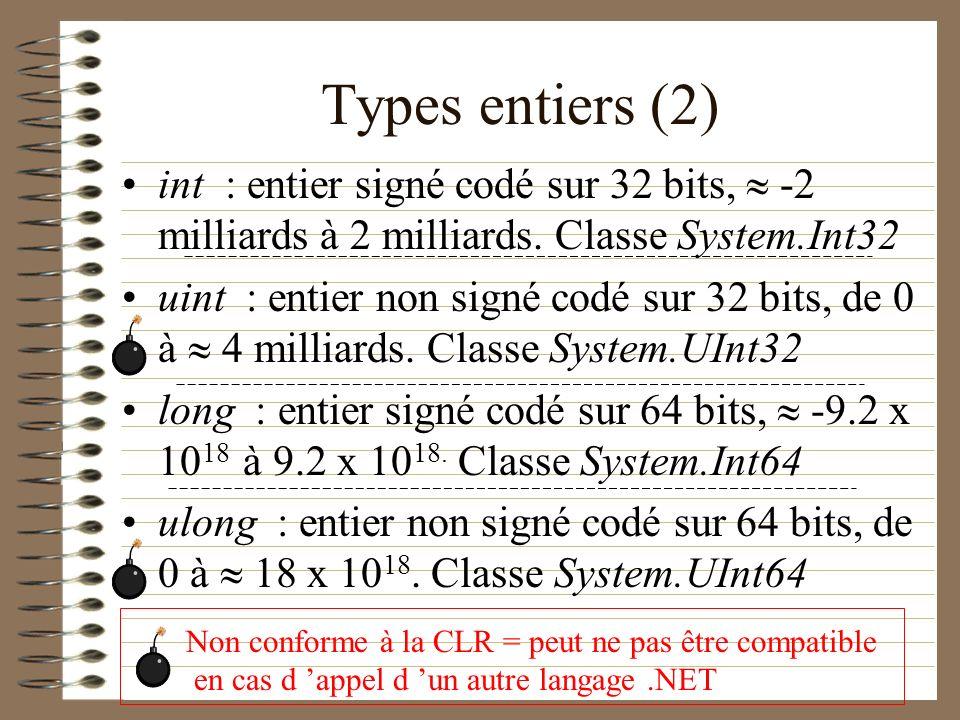 Types entiers (2) int : entier signé codé sur 32 bits, -2 milliards à 2 milliards. Classe System.Int32 uint : entier non signé codé sur 32 bits, de 0