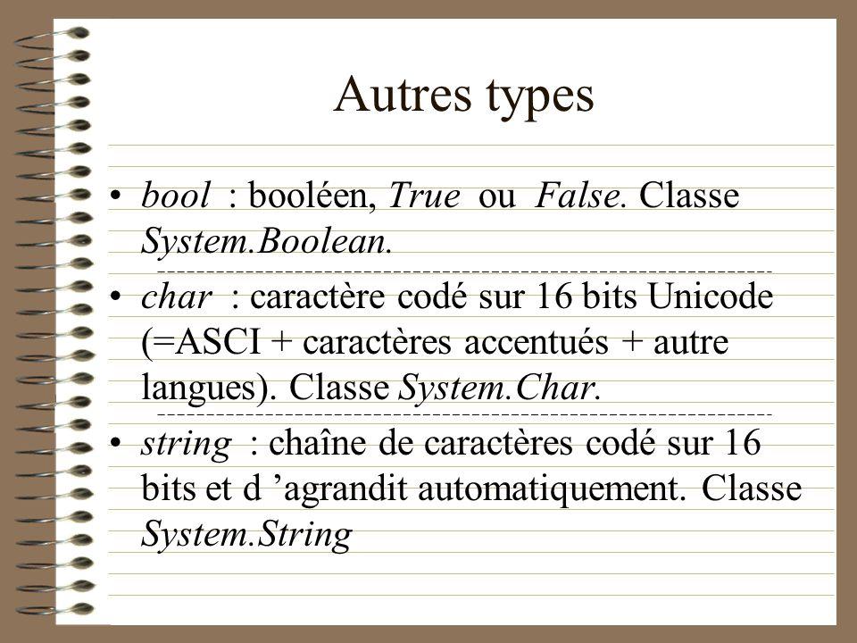 Autres types bool : booléen, True ou False. Classe System.Boolean. char : caractère codé sur 16 bits Unicode (=ASCI + caractères accentués + autre lan