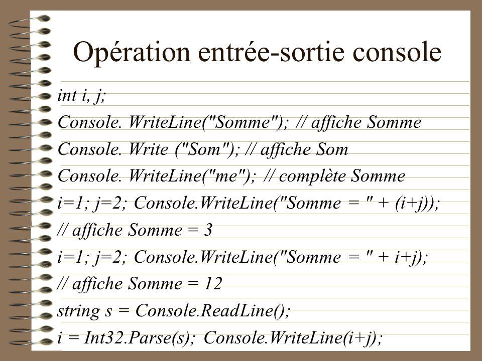 Opération entrée-sortie console int i, j; Console. WriteLine(
