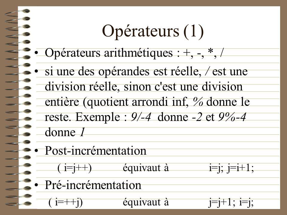 Opérateurs (1) Opérateurs arithmétiques : +, -, *, / si une des opérandes est réelle, / est une division réelle, sinon c'est une division entière (quo