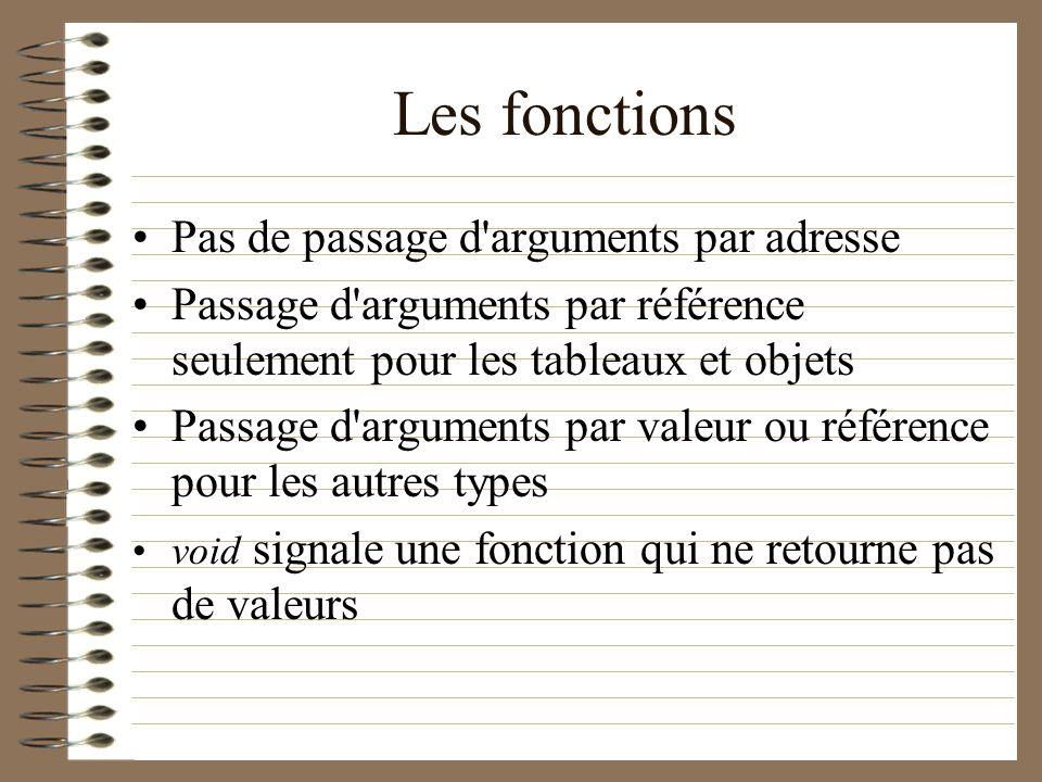 Les fonctions Pas de passage d'arguments par adresse Passage d'arguments par référence seulement pour les tableaux et objets Passage d'arguments par v