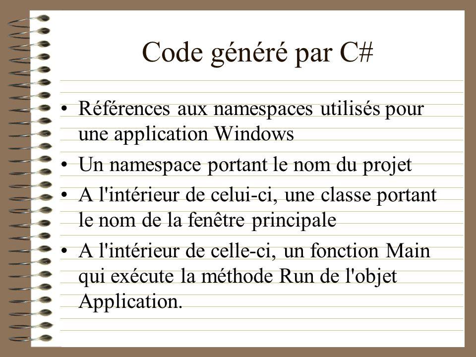Code généré par C# Références aux namespaces utilisés pour une application Windows Un namespace portant le nom du projet A l'intérieur de celui-ci, un