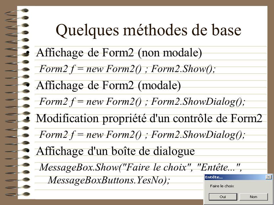 Quelques méthodes de base Affichage de Form2 (non modale) Form2 f = new Form2() ; Form2.Show(); Affichage de Form2 (modale) Form2 f = new Form2() ; Fo