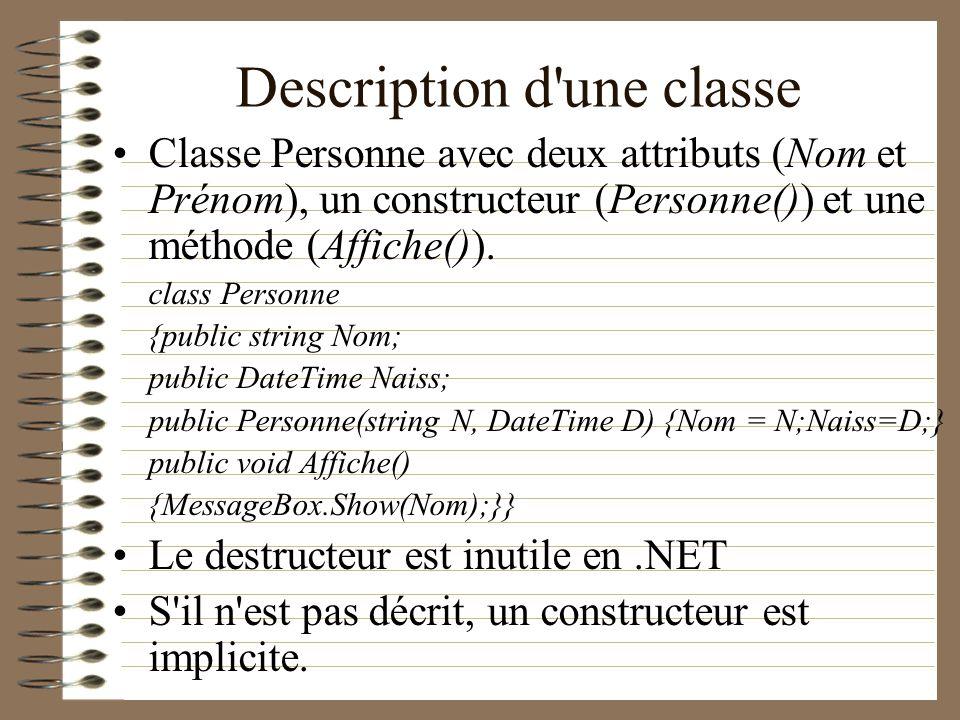Description d'une classe Classe Personne avec deux attributs (Nom et Prénom), un constructeur (Personne()) et une méthode (Affiche()). class Personne