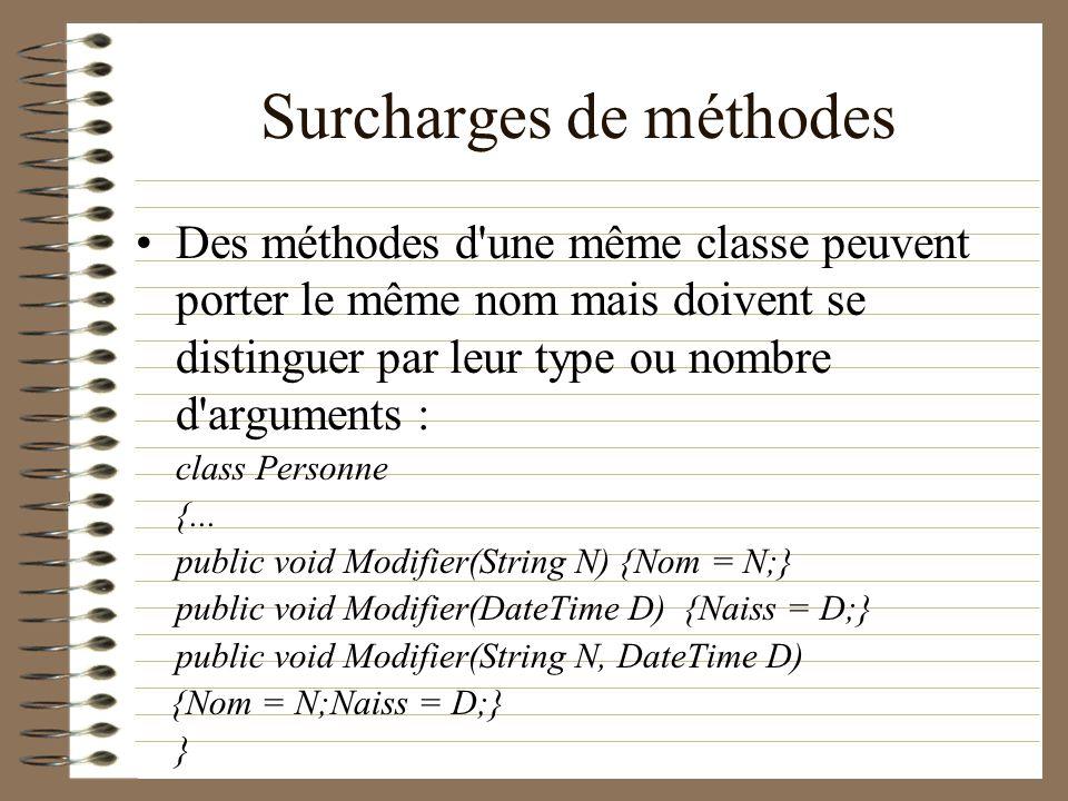 Surcharges de méthodes Des méthodes d'une même classe peuvent porter le même nom mais doivent se distinguer par leur type ou nombre d'arguments : clas