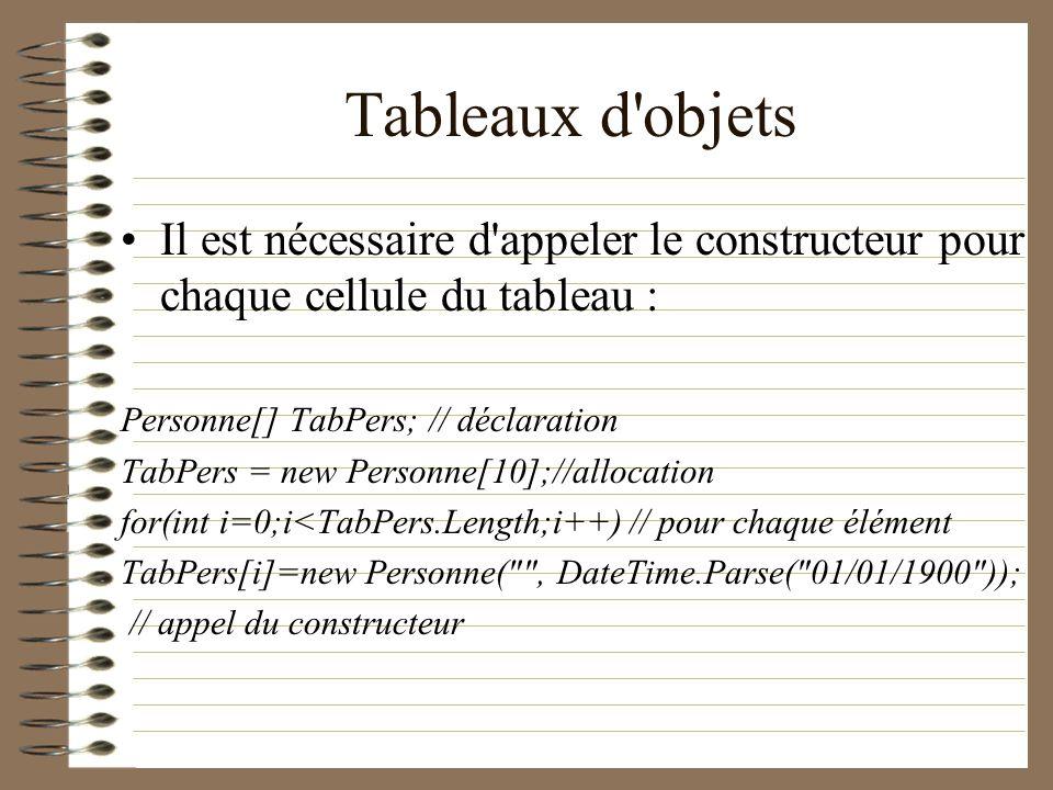 Tableaux d'objets Il est nécessaire d'appeler le constructeur pour chaque cellule du tableau : Personne[] TabPers; // déclaration TabPers = new Person