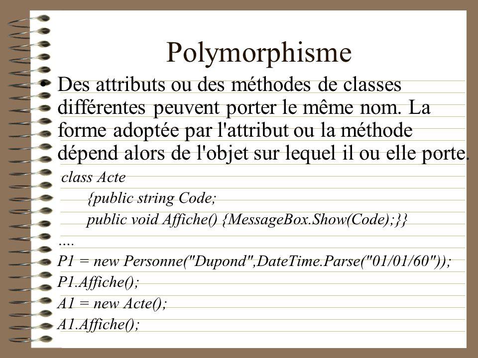 Polymorphisme Des attributs ou des méthodes de classes différentes peuvent porter le même nom. La forme adoptée par l'attribut ou la méthode dépend al