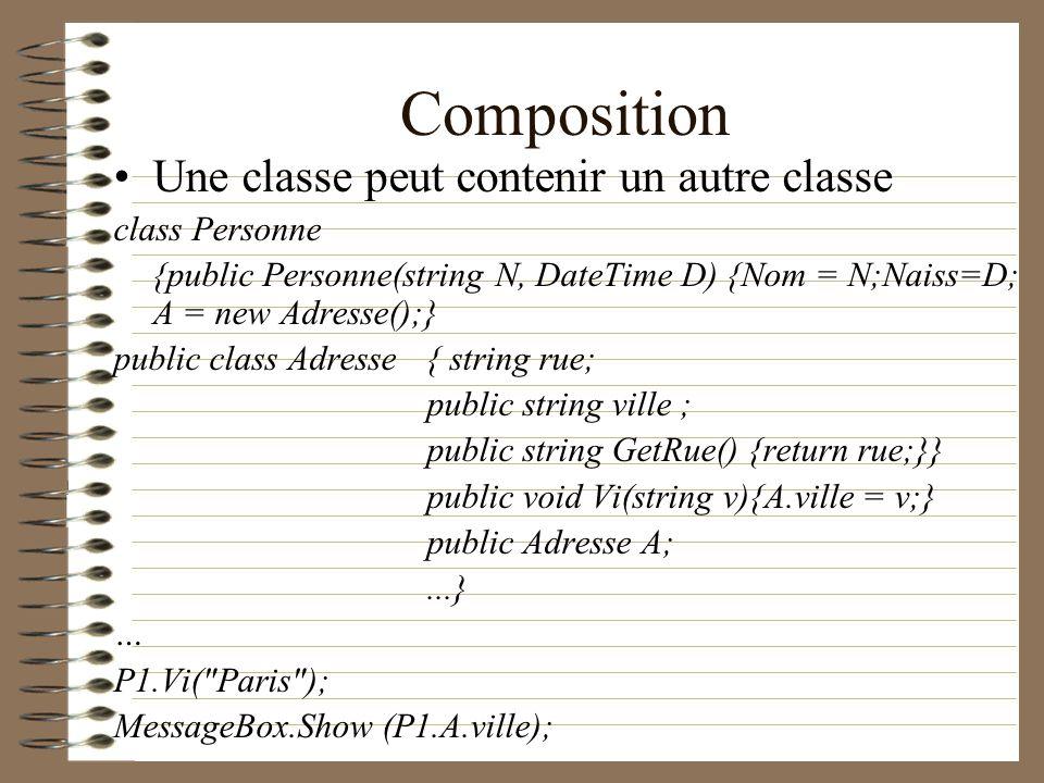 Composition Une classe peut contenir un autre classe class Personne {public Personne(string N, DateTime D) {Nom = N;Naiss=D; A = new Adresse();} publi