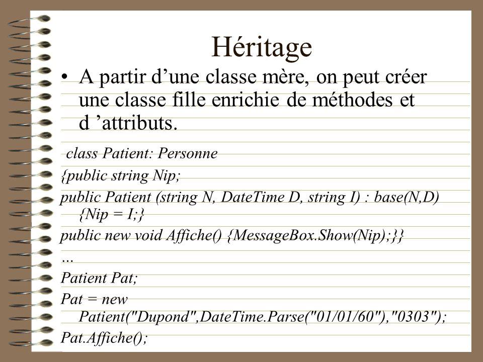 Héritage A partir dune classe mère, on peut créer une classe fille enrichie de méthodes et d attributs. class Patient: Personne {public string Nip; pu