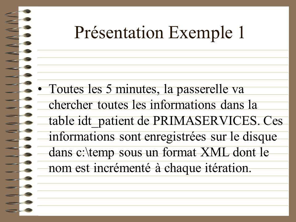 Présentation Exemple 1 Toutes les 5 minutes, la passerelle va chercher toutes les informations dans la table idt_patient de PRIMASERVICES. Ces informa