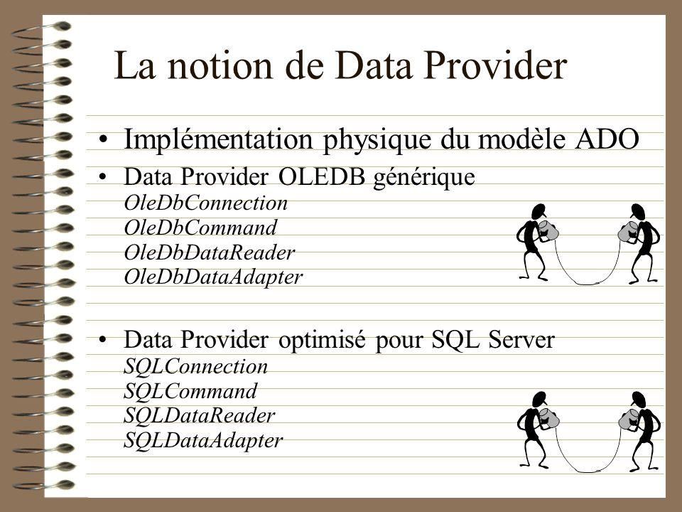 La notion de Data Provider Implémentation physique du modèle ADO Data Provider OLEDB générique OleDbConnection OleDbCommand OleDbDataReader OleDbDataA