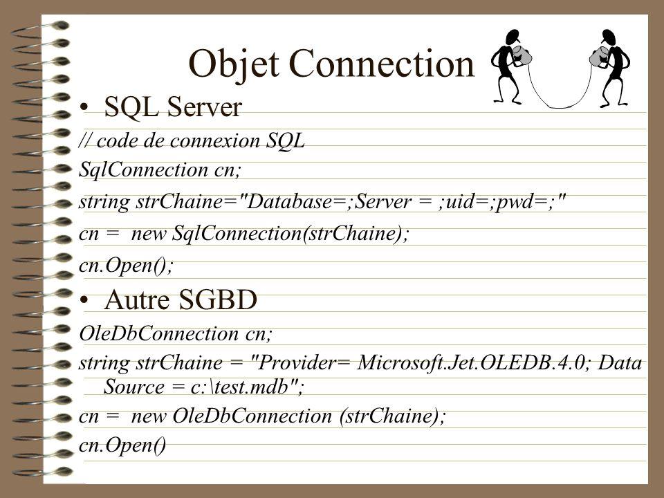 Objet Connection SQL Server // code de connexion SQL SqlConnection cn; string strChaine=
