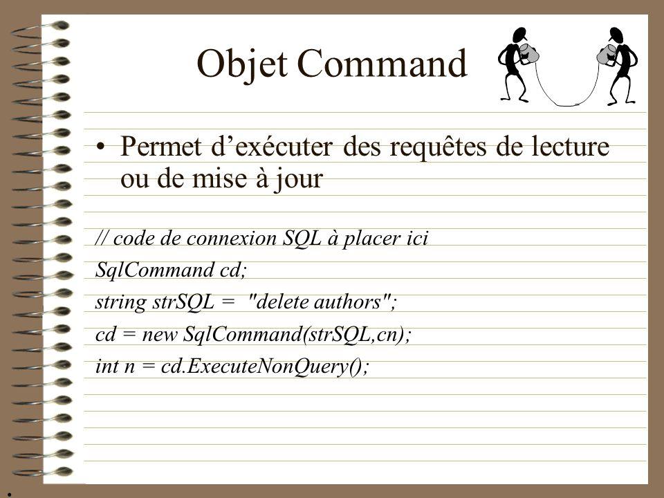 Objet Command Permet dexécuter des requêtes de lecture ou de mise à jour // code de connexion SQL à placer ici SqlCommand cd; string strSQL =