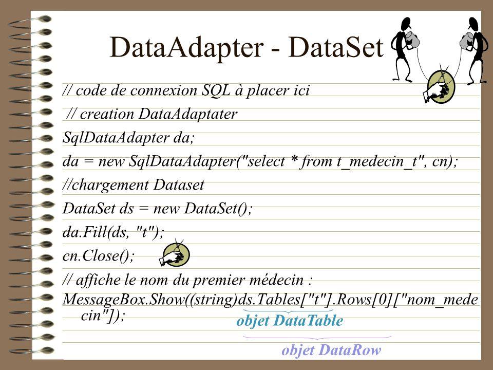 DataAdapter - DataSet // code de connexion SQL à placer ici // creation DataAdaptater SqlDataAdapter da; da = new SqlDataAdapter(
