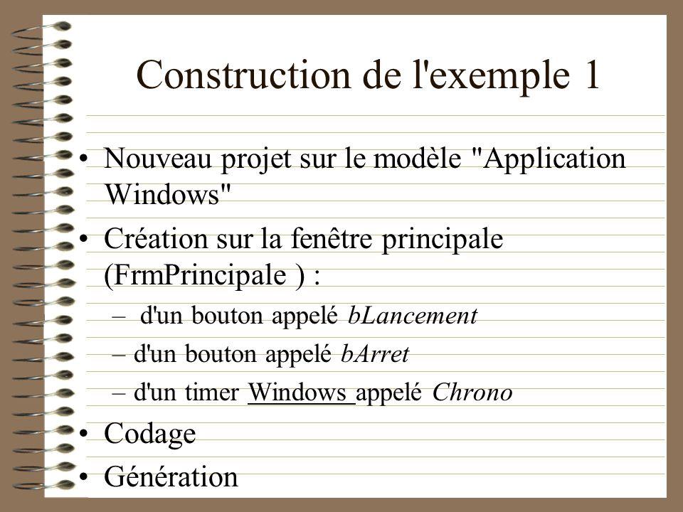 Construction de l'exemple 1 Nouveau projet sur le modèle