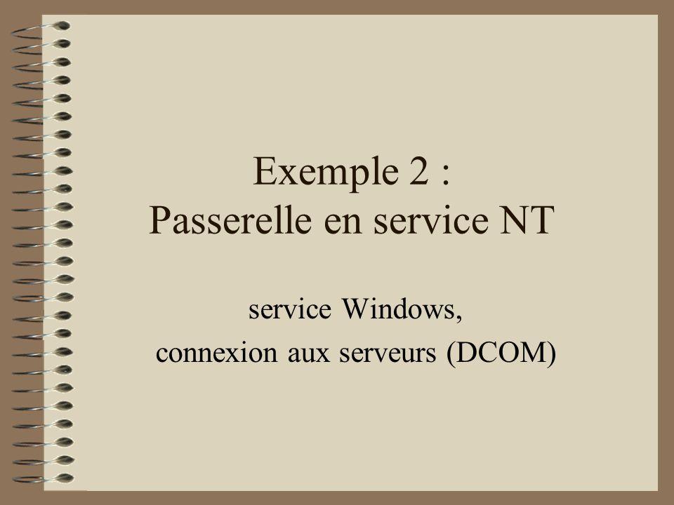Exemple 2 : Passerelle en service NT service Windows, connexion aux serveurs (DCOM)
