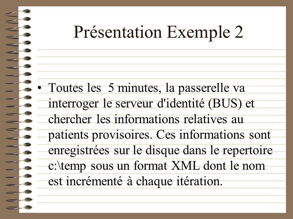 Présentation Exemple 2 Toutes les 5 minutes, la passerelle va interroger le serveur d'identité (BUS) et chercher les informations relatives au patient