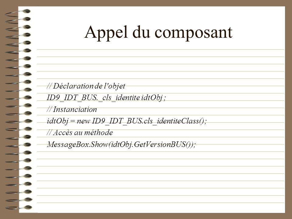 Appel du composant // Déclaration de l'objet ID9_IDT_BUS._cls_identite idtObj ; // Instanciation idtObj = new ID9_IDT_BUS.cls_identiteClass(); // Accè