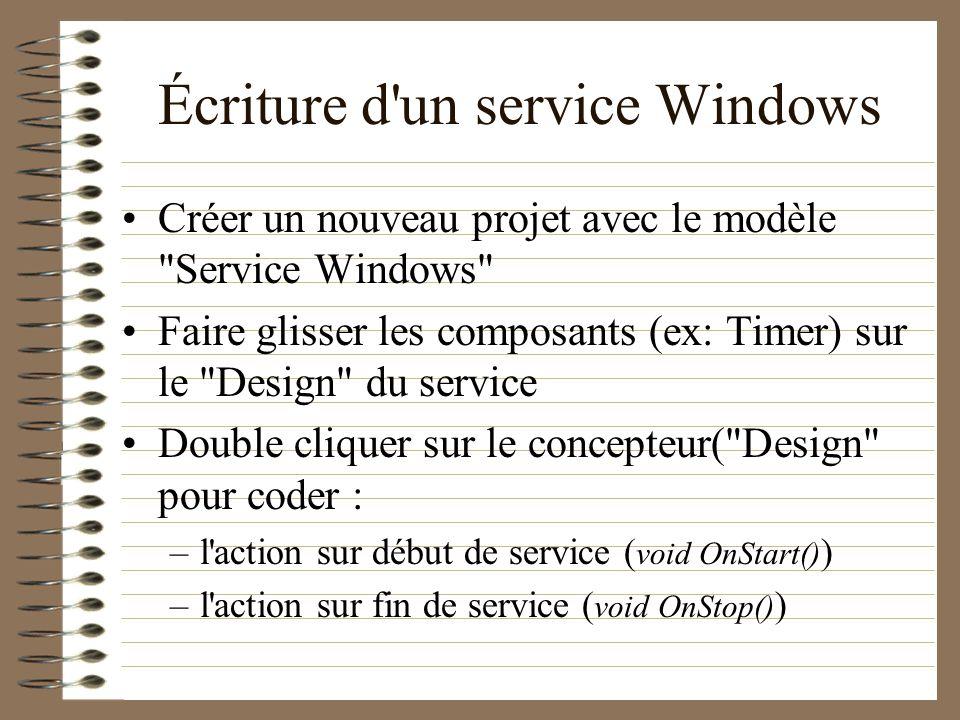 Écriture d'un service Windows Créer un nouveau projet avec le modèle