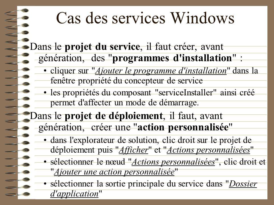Cas des services Windows Dans le projet du service, il faut créer, avant génération, des