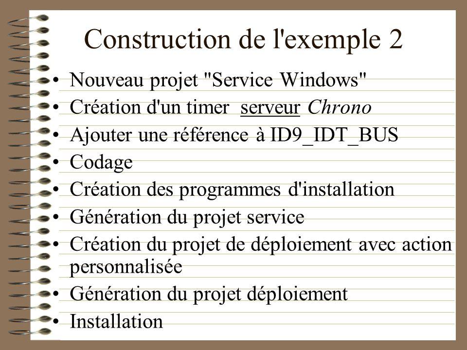 Construction de l'exemple 2 Nouveau projet