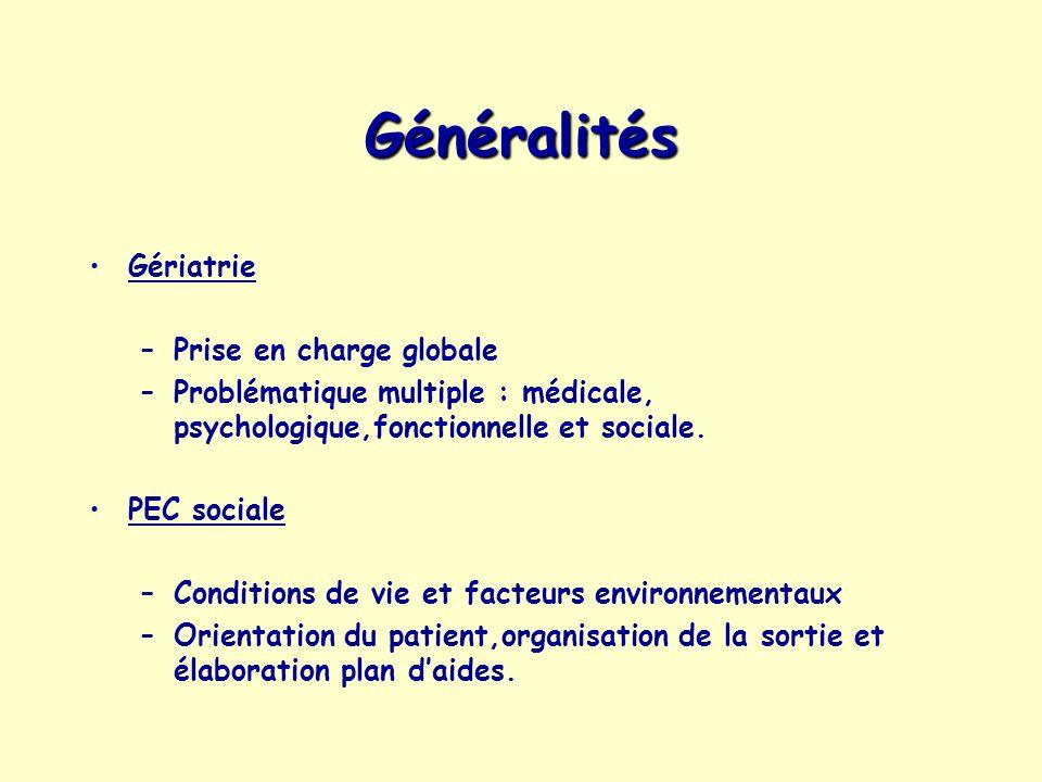 Généralités Gériatrie –Prise en charge globale –Problématique multiple : médicale, psychologique,fonctionnelle et sociale. PEC sociale –Conditions de