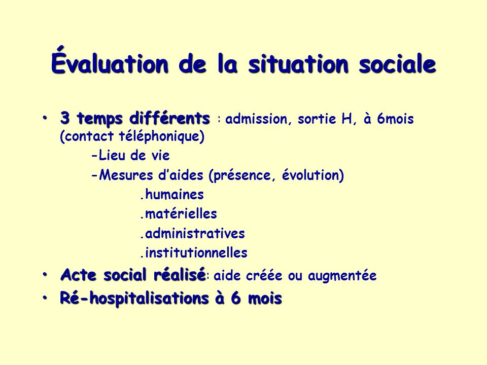 Évaluation de la situation sociale 3 temps différents3 temps différents : admission, sortie H, à 6mois (contact téléphonique) -Lieu de vie -Mesures da