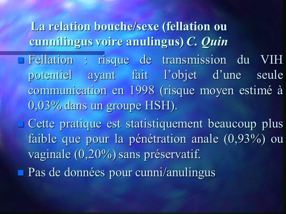 La relation bouche/sexe (fellation ou cunnilingus voire anulingus) C. Quin n Fellation : risque de transmission du VIH potentiel ayant fait lobjet dun