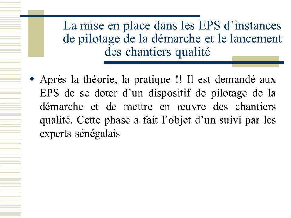 La mise en place dans les EPS dinstances de pilotage de la démarche et le lancement des chantiers qualité Après la théorie, la pratique !! Il est dema