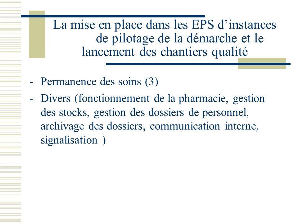La mise en place dans les EPS dinstances de pilotage de la démarche et le lancement des chantiers qualité -Permanence des soins (3) -Divers (fonctionn