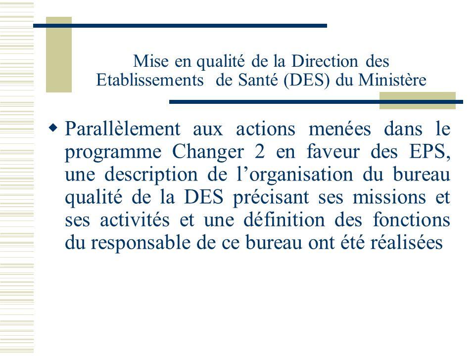 Mise en qualité de la Direction des Etablissements de Santé (DES) du Ministère Parallèlement aux actions menées dans le programme Changer 2 en faveur