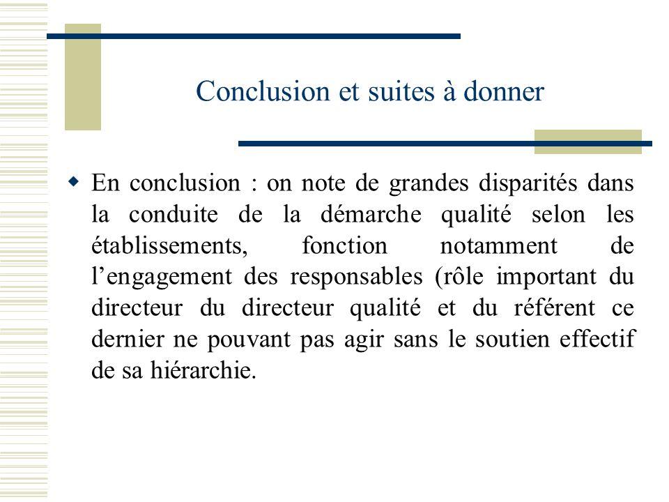 Conclusion et suites à donner En conclusion : on note de grandes disparités dans la conduite de la démarche qualité selon les établissements, fonction