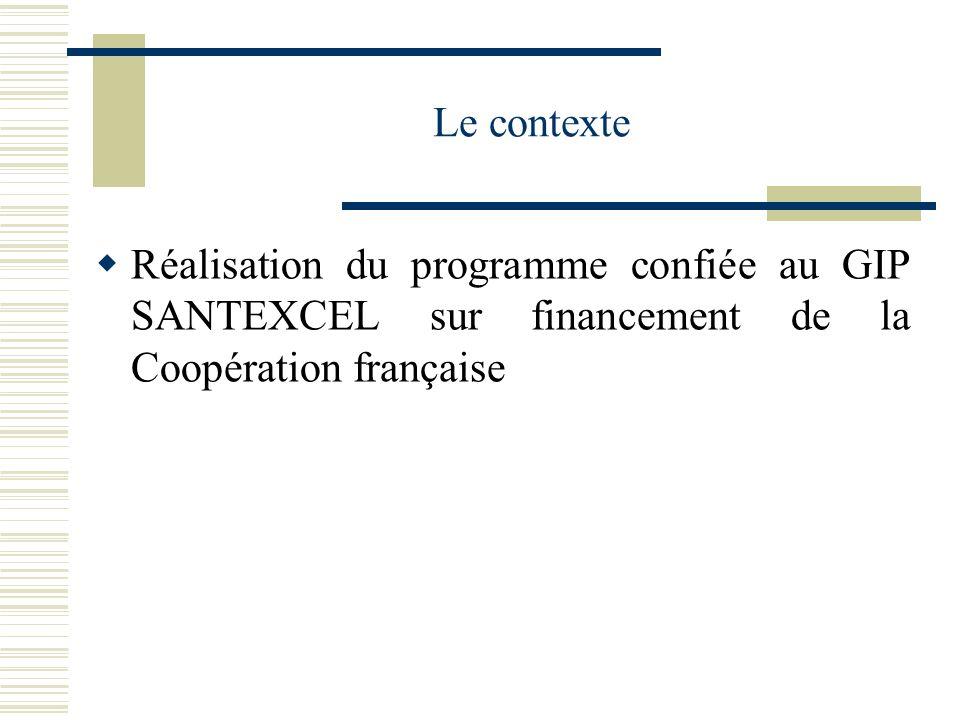 Le contexte Réalisation du programme confiée au GIP SANTEXCEL sur financement de la Coopération française