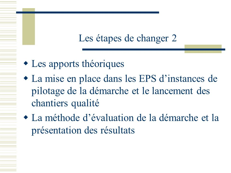 Les étapes de changer 2 Les apports théoriques La mise en place dans les EPS dinstances de pilotage de la démarche et le lancement des chantiers quali