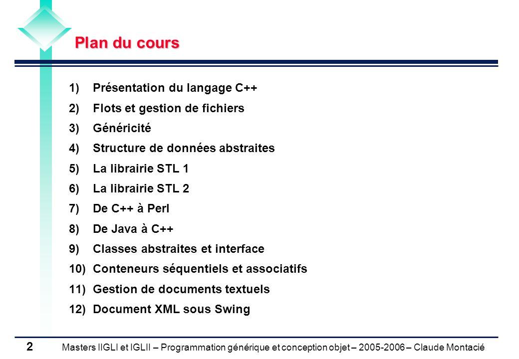 Masters IIGLI et IGLII – Programmation générique et conception objet – 2005-2006 – Claude Montacié 3 1.Déclarations de variables et variables simples 2.Structures de contrôle 3.
