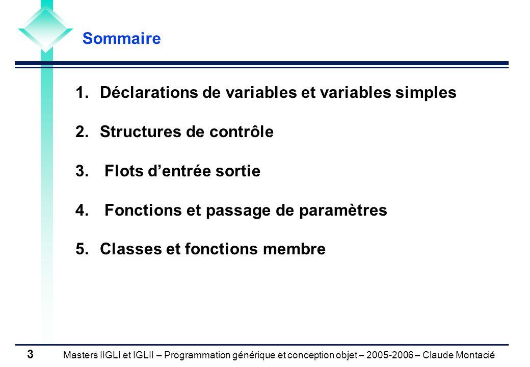 Masters IIGLI et IGLII – Programmation générique et conception objet – 2005-2006 – Claude Montacié 4 INTRODUCTION Historique et propriétés 1980 Développement dans les laboratoires « AT&T Bell » 1983 Premier compilateur C++ 1.0 1989 C++ 2.0 (héritage multiple) 1993 C++ 3.0 (template) 1994 Bibliothèque de patrons génériques (STL) 1.0 1997 STL 3.0 1998 Normalisation de C++ 4.0 (ISO/IEC 14882-1998) 2003 Normalisation de STL (ISO/IEC 14882-2003) Langage compilé, orienté objet et à typage fort Bibliothèque de composants (réutilisation) Vérification des types à la compilation (diminution des erreurs syntaxique) Généricité des algorithmes (optimalité) Très important dans lindustrie du logiciel mais difficile